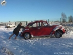 A VW beatle, 2 girls and a lot of snow